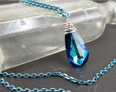 Depths of the Sea. Crystal, sterling and two-tone aqua chain necklace