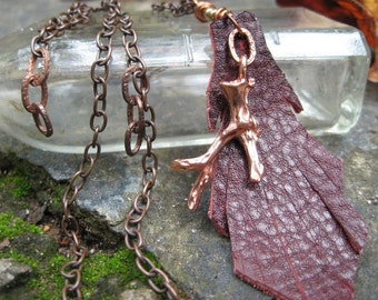 Native Earth. Leather leaf and copper branch charm necklace