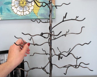 January Tree. Handwelded recycled steel tree for jewelry or decoration, Made to Order