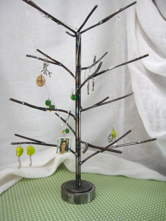 Spring Buds. Hand welded recycled steel jewelry or display tree. Pick your color