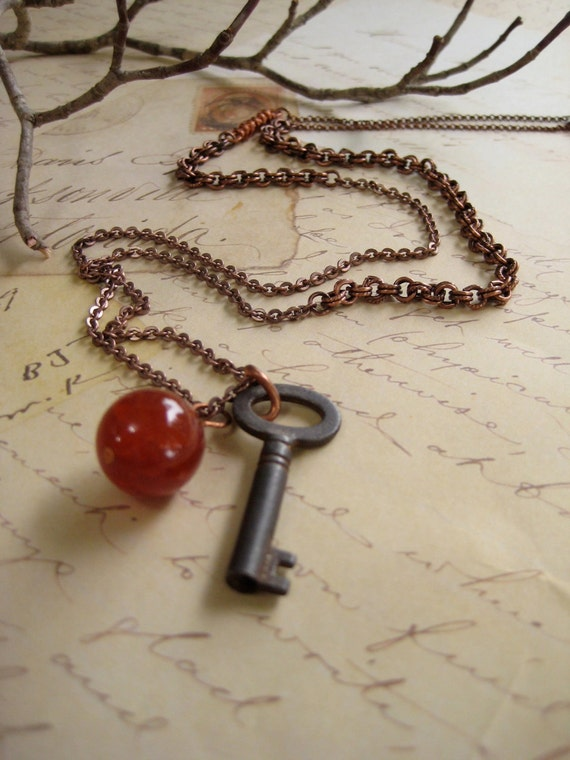 The Lock. Fire agate and antique key on mixed copper necklace