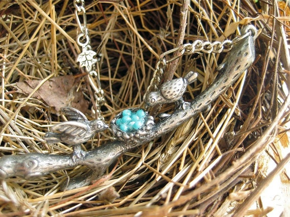Twig. Bird family on a branch necklace