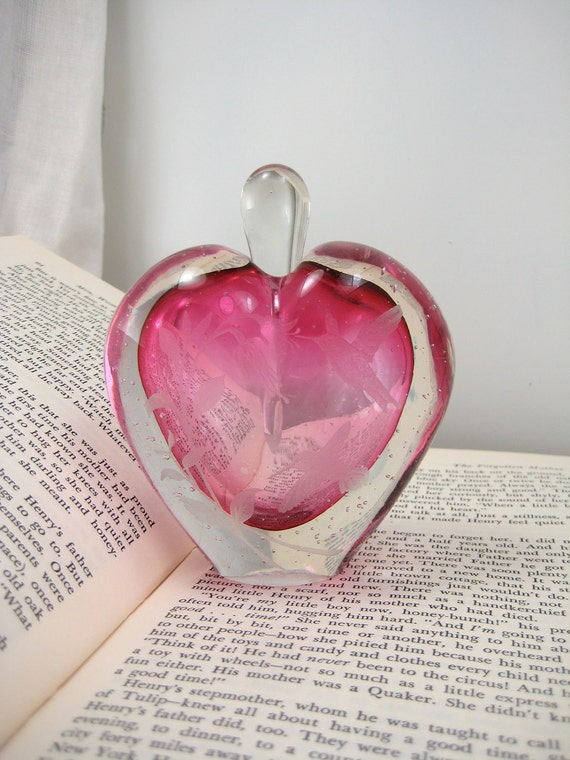 Vintage Hand Blown Heart Shaped Perfume Bottle Etched With