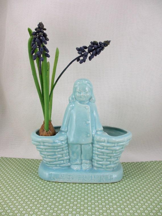 Blue Girl.  Mid-century vintage planter with kanji
