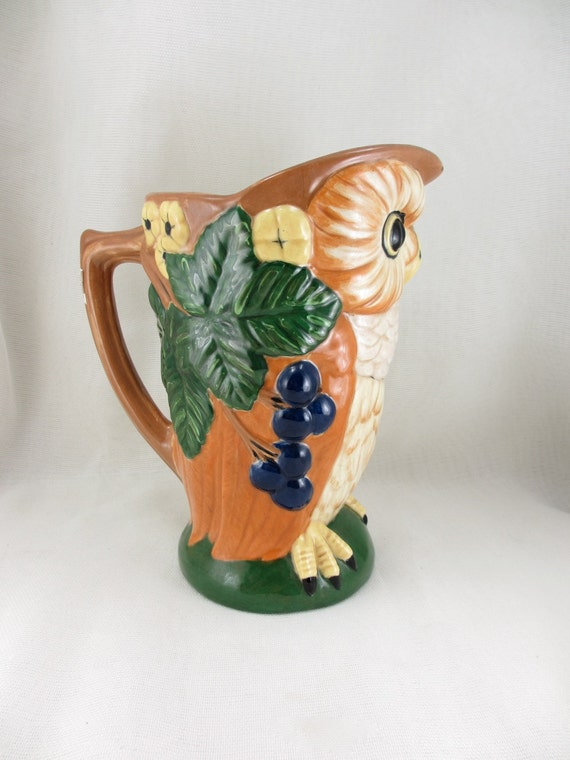 Vintage ceramic owl pitcher