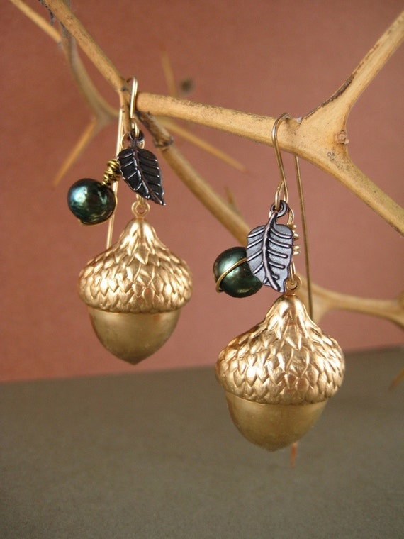 Acorns and Pearls, large brass acorn, green pearl, and tiny leaf earrings