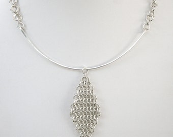 Silver Chainmaille Pendant Necklace - Sterling Hammered Wire Necklace - OOAK Necklace - Unique Pendant Chainmail Necklace - 111024