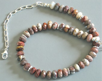 ON SALE - 20% OFF - Mexican Laguna Lace Agate Necklace - 112022 - Price shown is sale price