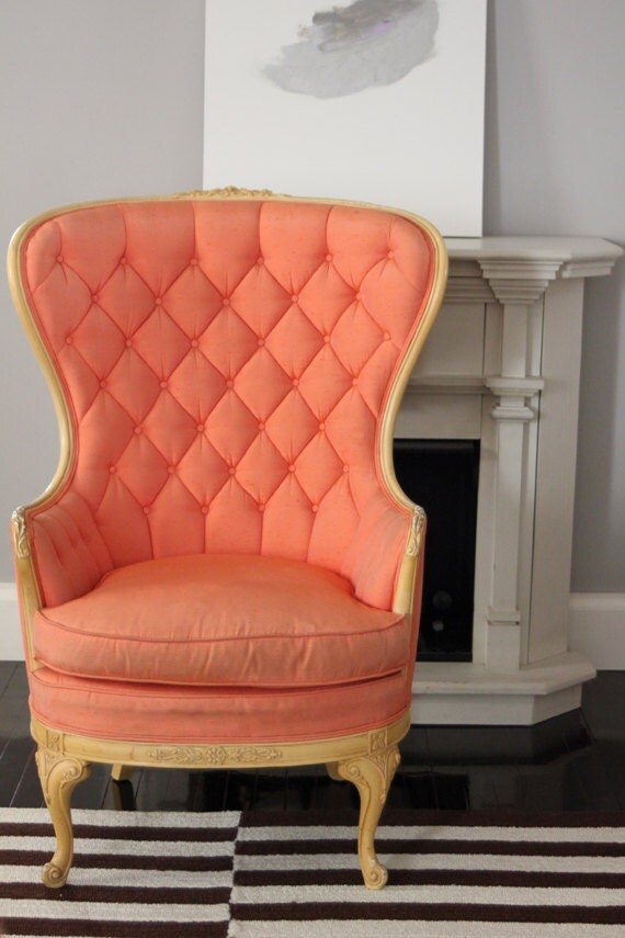 Reserved Tufted Wing Back Coral Chair By Foldingchairs On