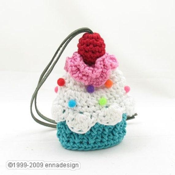 Amigurumi Cupcake Keychain : Amigurumi Cupcake Key Cozy Turquoise and Strawberry Cream