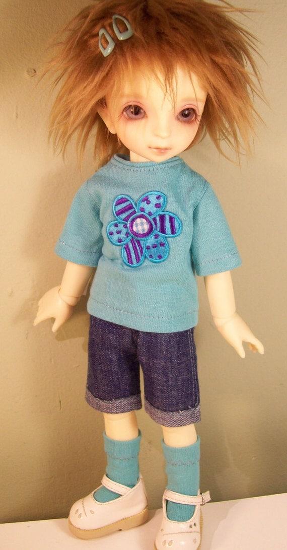 Blue Flower Shorts set for Volks YoSD Littlefee DOLLFIE