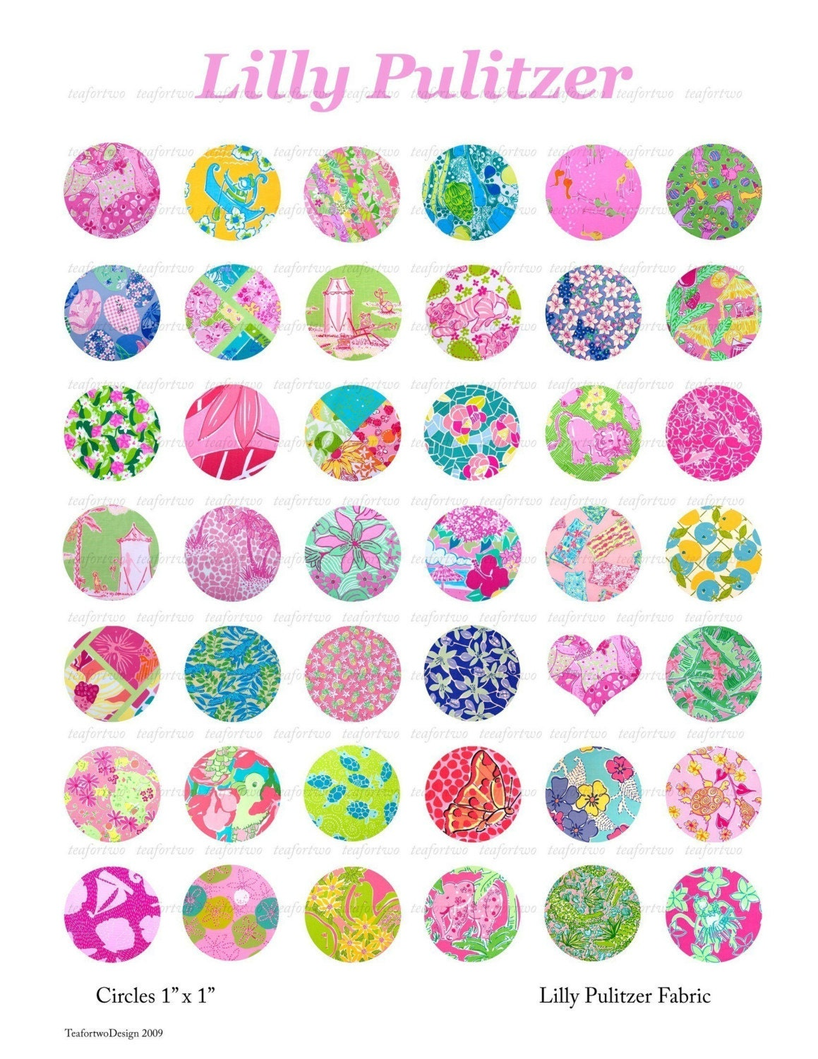 Lilly Pulitzer Digital Collage Prints 1in Circles