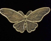 Detailed Butterfly Stampings in Brass - 4 pcs