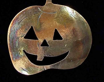 Jack O Lantern Pumpkin Pin in Tooled Copper - Happy Halloween- Samhain, Handmade in Michigan, Signed and Dated. free Shipping