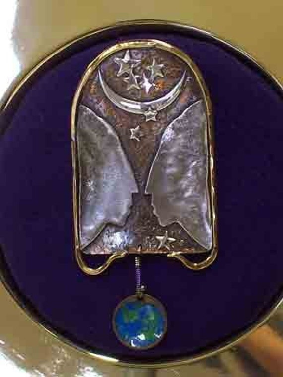 What The World Needs Now...Brooch with Enameled EARTH..by Linda Beers Aydlott.. Signed and dated