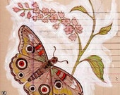 Butterfly Print Primitive Folk Art Butterflies Pale Pink Flower - digiliodesigns