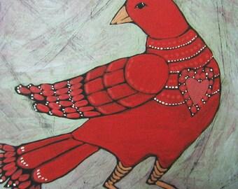 Original Art Print - Primitive Folk Art Bird - Red Bird Art Print - Whimsical Bird - Red Heart -Wall Decor - Wall Art - Red Bird