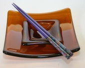 English Toffee Fused Glass Plate Set