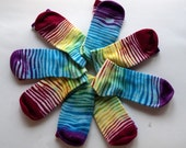Hand Dyed Rainbow Bamboo Socks for Adults
