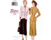 Retro 1940s jacket skirt suit sewing pattern Butterick 6257 Bust 34 to 38