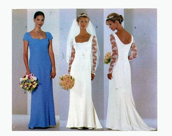 90s wedding dress sewing pattern Butterick 6387 brides romantic pattern gown bridesmaid pattern Bust 34