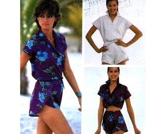 80s short shorts pattern and shirt vintage sewing pattern McCalls 7609 Summer wear Bust 32 to 34