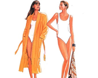 Summer resort swimsuit beach one piece bathing suit robe sewing pattern New Look 6142 Size 8 to 18 UNCUT vintage 80s