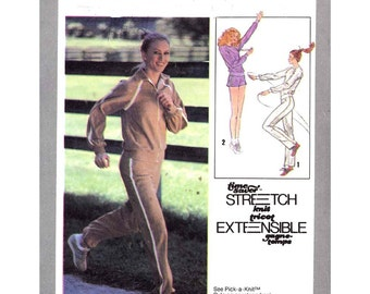 Womens jogging suit Simplicity 8887 70s athletics exercise pullover short shorts pants jacket sewing pattern Size 6 to 10 or 12 to 16 UNCUT