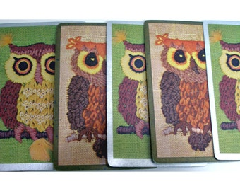 Owl playing cards 5 vintage paper ephemera craft supply for altered art projects collage or scrapbooking