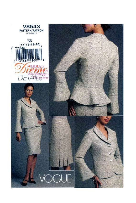 Divine Details suit sewing pattern Bust 36 to 42 Vogue V8543 Bust 36 to 42