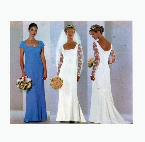 90s wedding dress sewing pattern butterick 6387 brides for Butterick wedding dress patterns