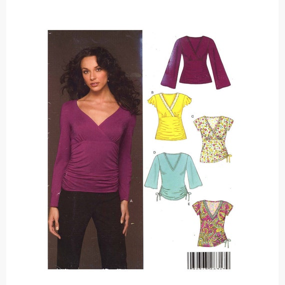New Look 6430 casual stretch knit yoga top sewing pattern Sz 10 to 22