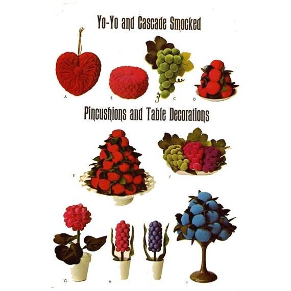 Heart shaped pincushion Yo Yo cascade smocked pincushions Valentines gifts home table decorations McCalls 6988 UNCUT
