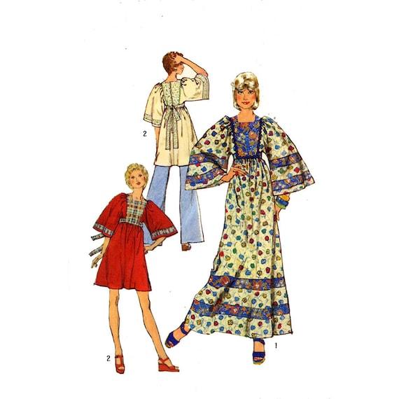 Boho Caftan dress Hippie hipster top festival wear Simplicity 5976 sewing pattern Boho 1970s UNCUT