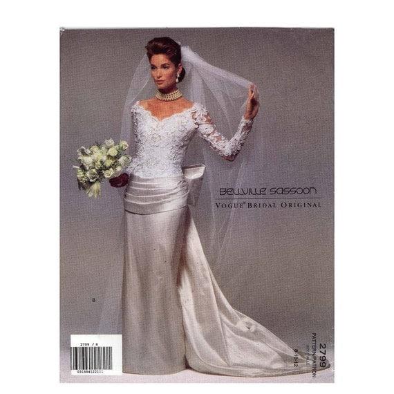 Vogue Wedding Dress Patterns: 90s Belleville Sassoon Wedding Dress Sewing Pattern Vogue 2799