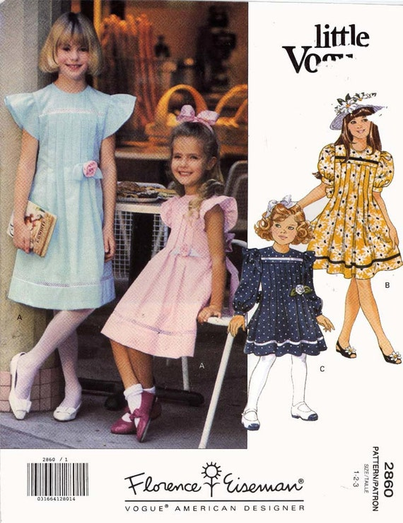 Flowergirl dress sewing pattern Vogue 2860 Florence Eisenman Sz 1 to 3