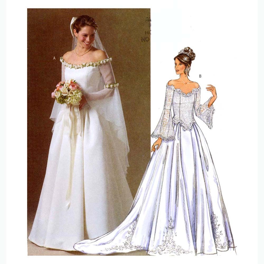 Renaissance Bridal Gown Sewing Pattern Princess Dress: Butterick 4453 Wedding Dress Sewing Pattern 16 To 22 By