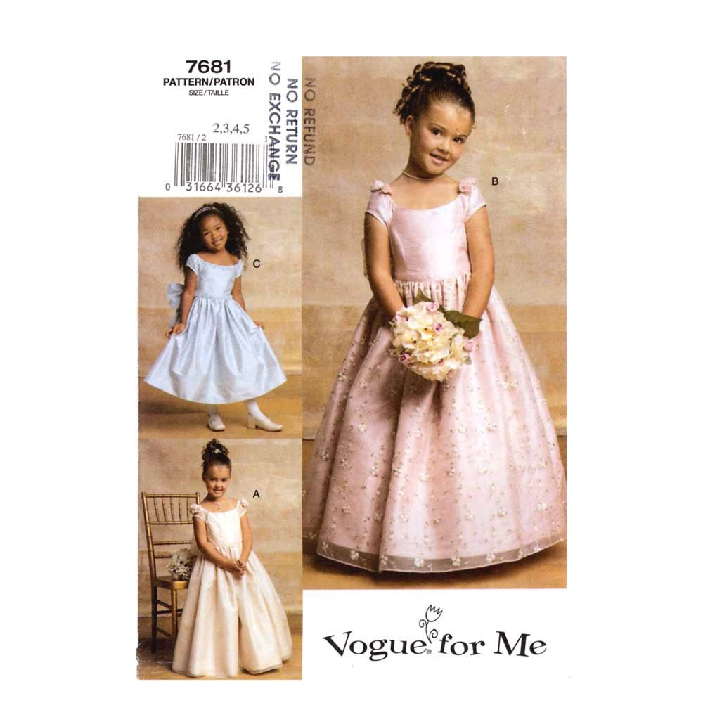 Flower Girls Dress Party Sewing Pattern Vogue 7681 Sz 2 To 5