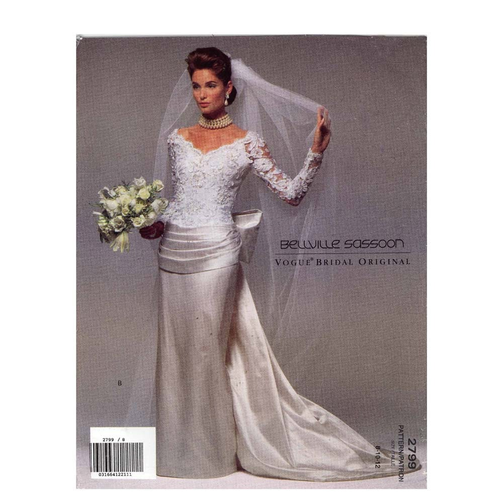 90s Belleville Sassoon Wedding Dress Sewing Pattern Vogue 2799