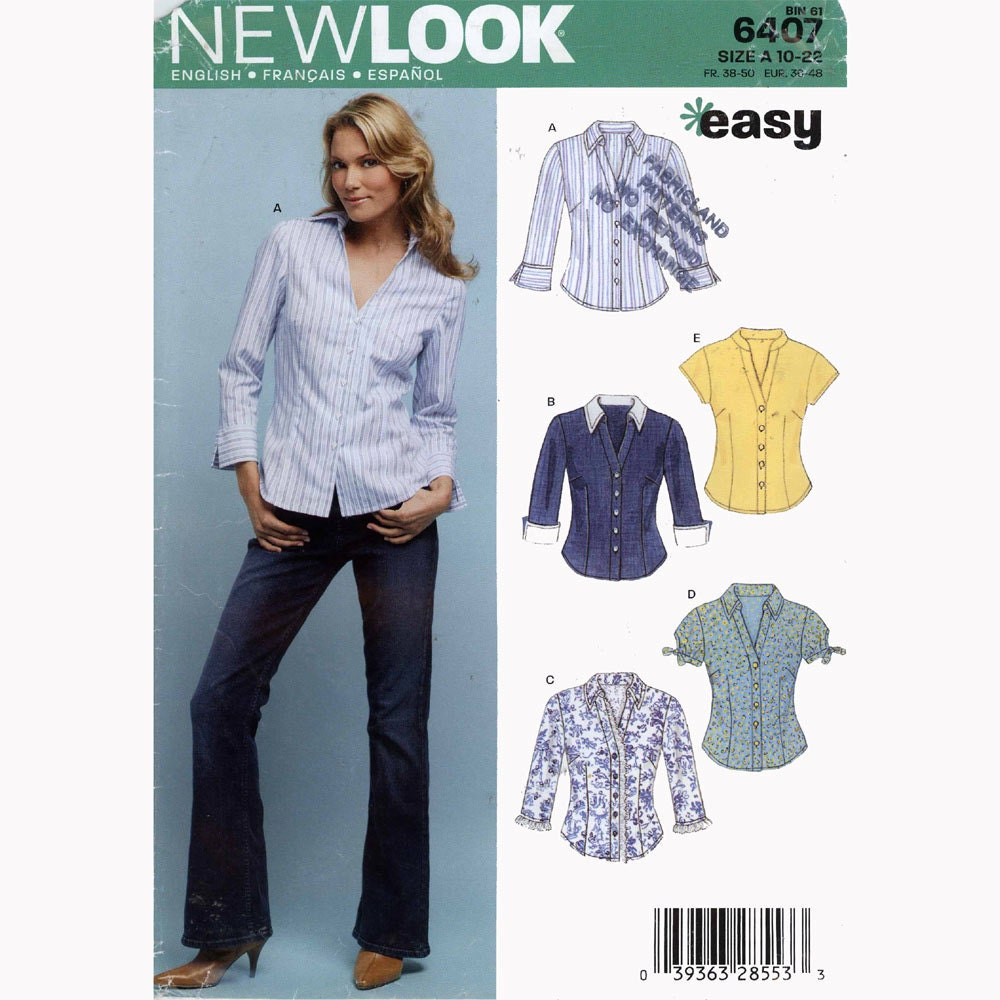 Model Fitted Blouse Sewing PatternEasy New Look 6407Womens