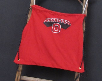 Grocery Market Backpack Ohio State Buckeyes Drawstring Backpack by Fashion Green T Bags