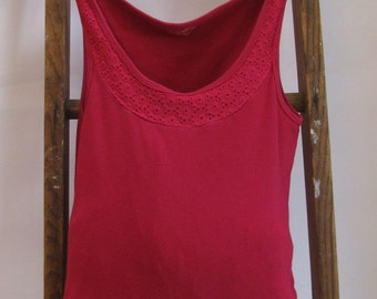 Tote Bag Pink Eyelet Hand Held Upcycled Sleeveless Shirt Tote by Fashion Green T Bags