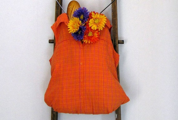 Hand Held Orange Pink Plaid Reusable Tote Bag by Fashion Green T Bags