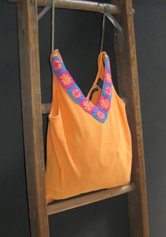Tote Bag Not Square Orange and Crochet Bag