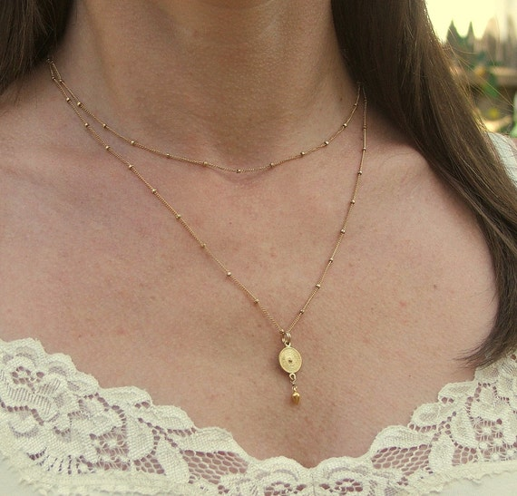 14K Delicate Gold Filled Bead Chain Necklace - 32 Inches