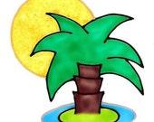 Palm Tree Island- Family Window Art