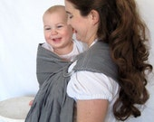 Linen Ring Sling Baby Carrier - 100% Linen in Pewter - Petite length - DVD included