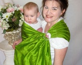 Ring Sling Baby Sling/Carrier - Double Layer 100% Silk in Green Apple - DVD - see shop for more