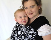 Black and white scroll extra wide panel - REVERSIBLE Airy WOVEN Baby Wrap Sling w DVD tutorial - non-stretchy super support