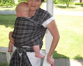 Gauze Baby Wrap Carrier -Non stretchy cotton - Charcoal Gray Plaid - DVD included